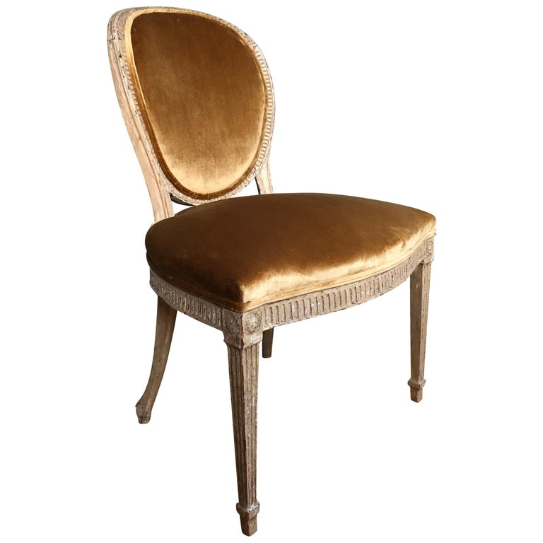 Louis XVI Oval Back Side or Dining Chair, New Silk Velvet, in Stock For Sale