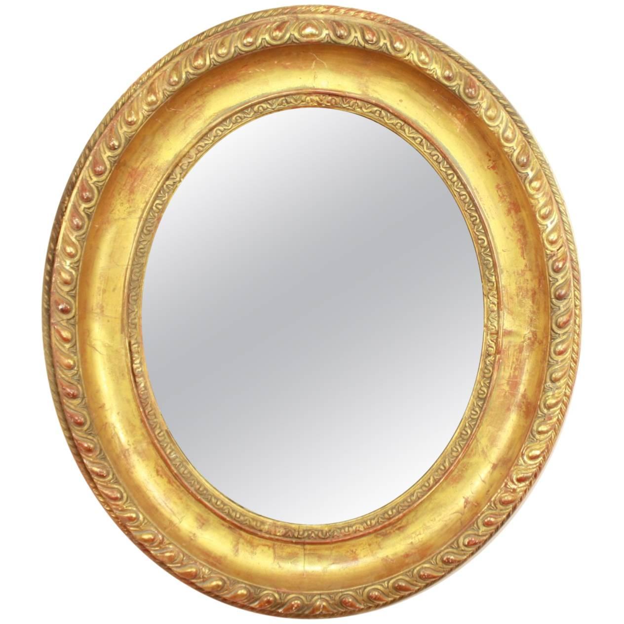 Louis XVI Oval Giltwood Wall Mirror