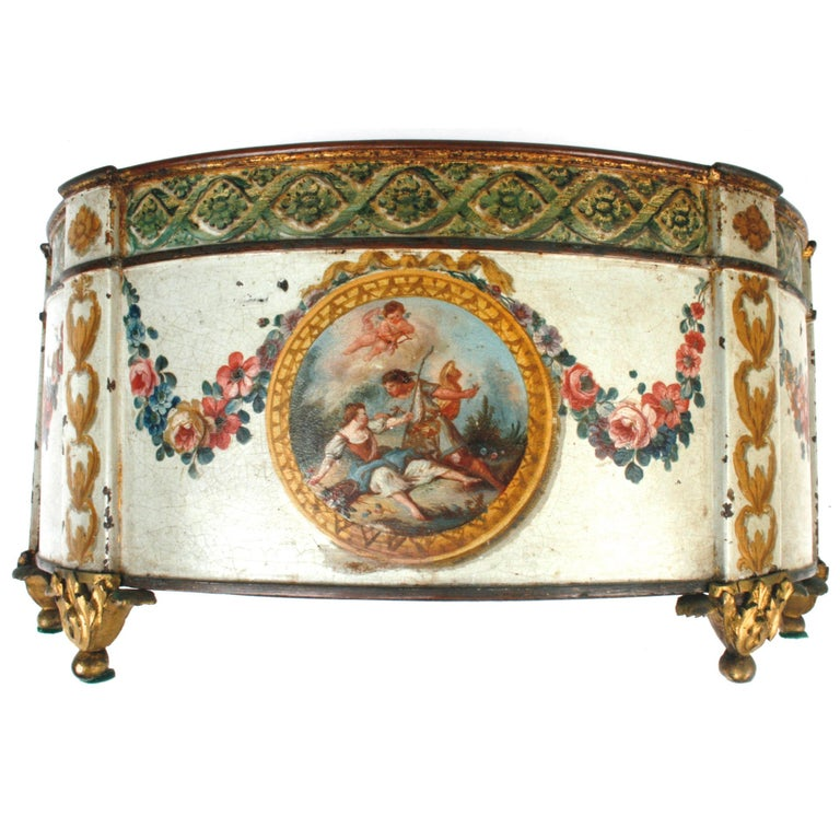 Louis XVI Painted and Gilt Decorated Tole Cachepot, c1780 For Sale