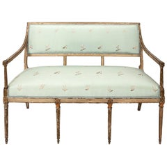 Louis XVI Painted and Parcel Gilt Settee