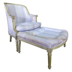 Louis XVI Painted Bergère and Ottoman Chaise / Recamier