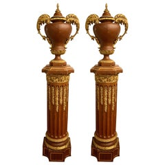 Louis XVI Pair of French circa 1950 Urns and Cover on Pedestals