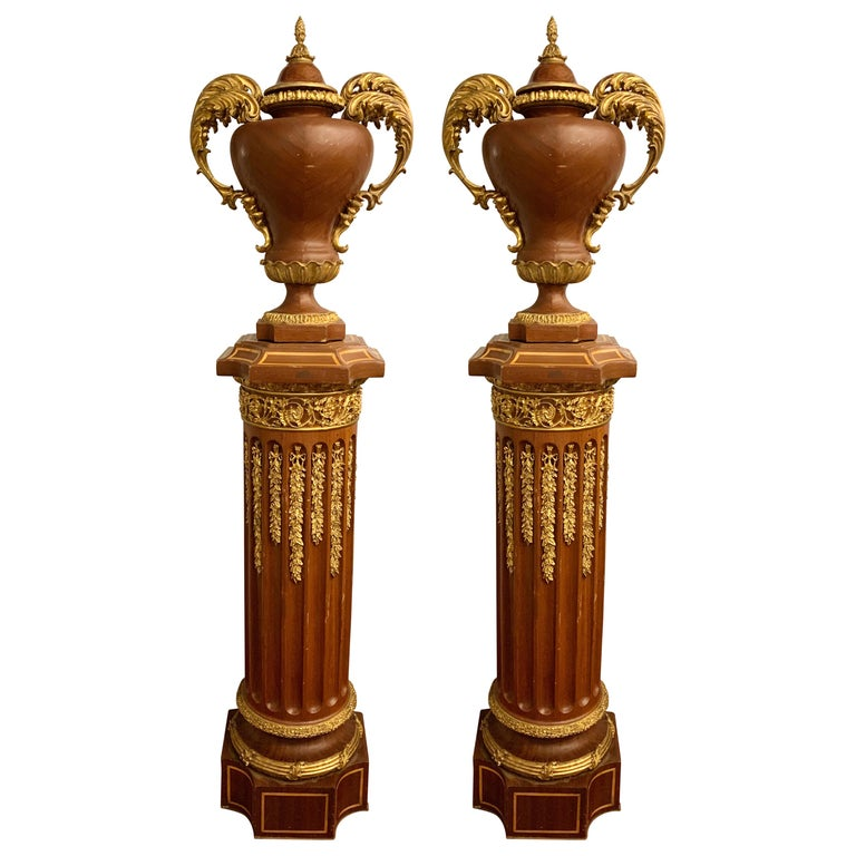 Louis XVI Pair of French circa 1950 Urns and Cover on Pedestals For Sale