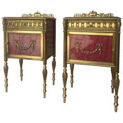 Louis XVI Pair of Bronze Vitrine Nightstand with Glass Door and Drawer