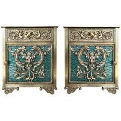 Louis XVI Pair of Bronze Vitrine Nightstands with Green Glass Doors and Drawer