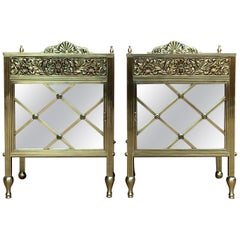 Louis XVI Pair of Bronze Vitrine Nightstands with Mirrored Doors and Drawer