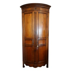 Louis XVI Period Corner Cabinet or Encoignure in Walnut with Curved Facade