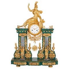 Louis XVI Period Gilt Bronze and Malachite Clock