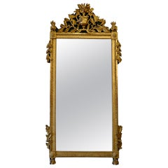 Louis XVI Period Giltwood Trumeau Mirror with Urn, Flowers and Laurel Leaves