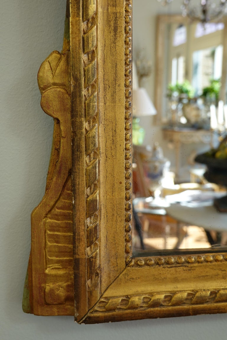Louis XVI Period Marriage Trumeau Mirror with Birds For Sale 4