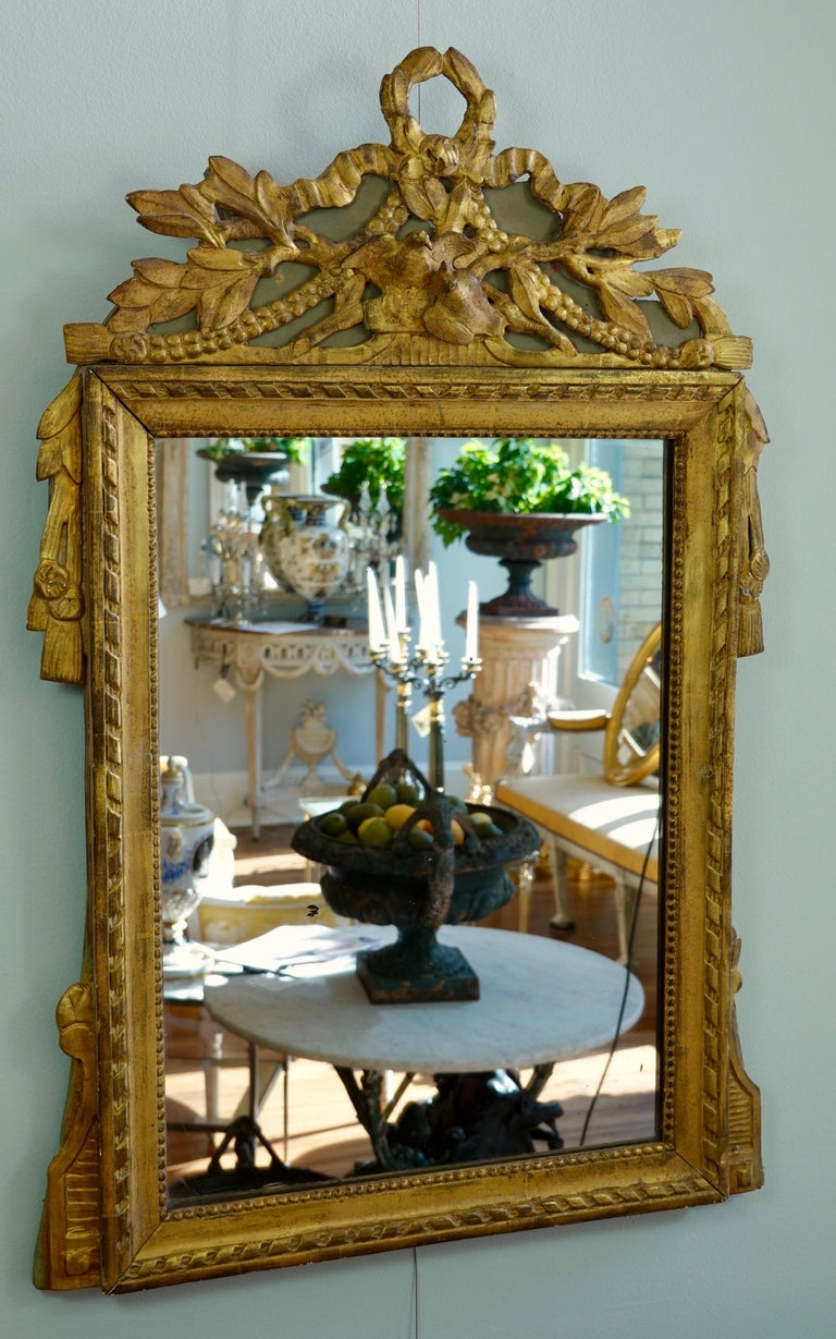 French Louis XVI Period Marriage Trumeau Mirror with Birds For Sale