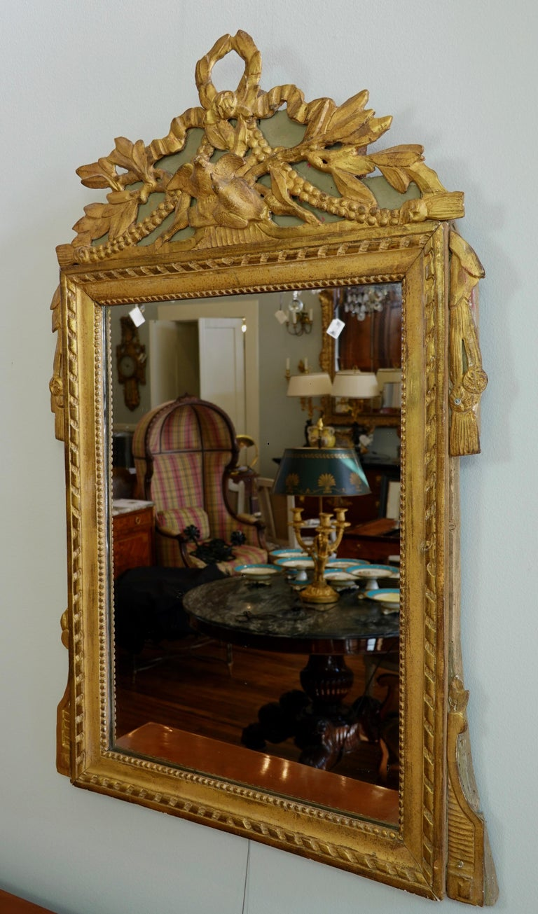 Painted Louis XVI Period Marriage Trumeau Mirror with Birds For Sale