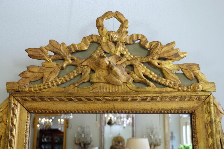 Louis XVI Period Marriage Trumeau Mirror with Birds In Good Condition For Sale In Charleston, SC