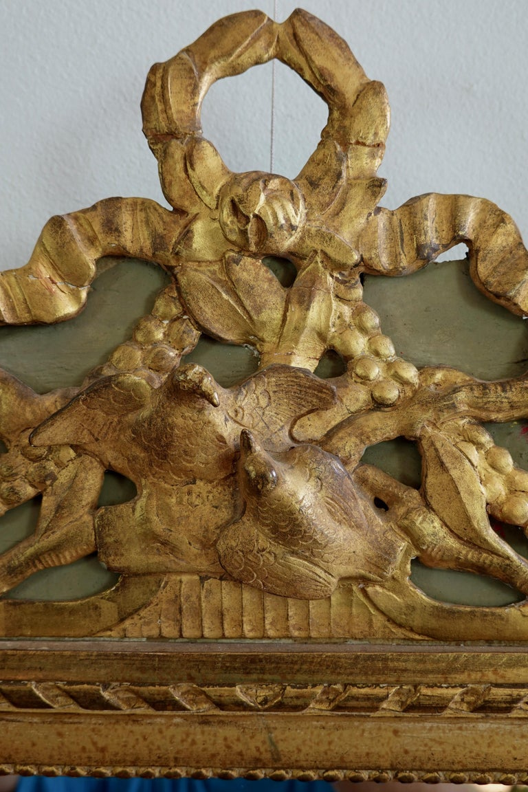 Louis XVI Period Marriage Trumeau Mirror with Birds For Sale 1