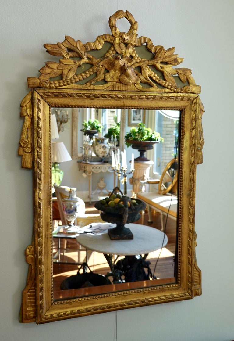 Louis XVI Period Marriage Trumeau Mirror with Birds For Sale 2