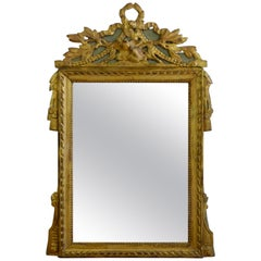 Louis XVI Period Marriage Trumeau Mirror with Birds