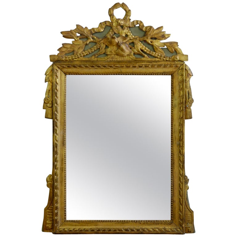 Louis XVI Period Marriage Trumeau Mirror with Birds For Sale