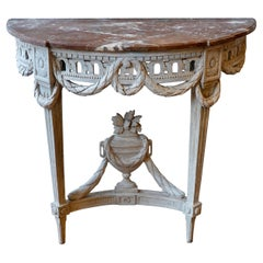 Louis XVI Period Painted Console Table with Variegated Marble Top