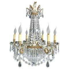 Louis XVI Regency Empire Crystal and Bronze Twelve-Light Wedding Cake Chandelier
