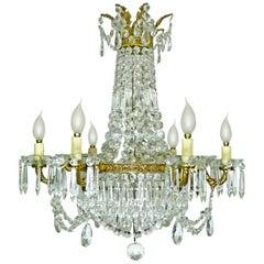 Louis XVI Regency Empire Crystal & Bronze Twelve Light Wedding Cake Chandelier