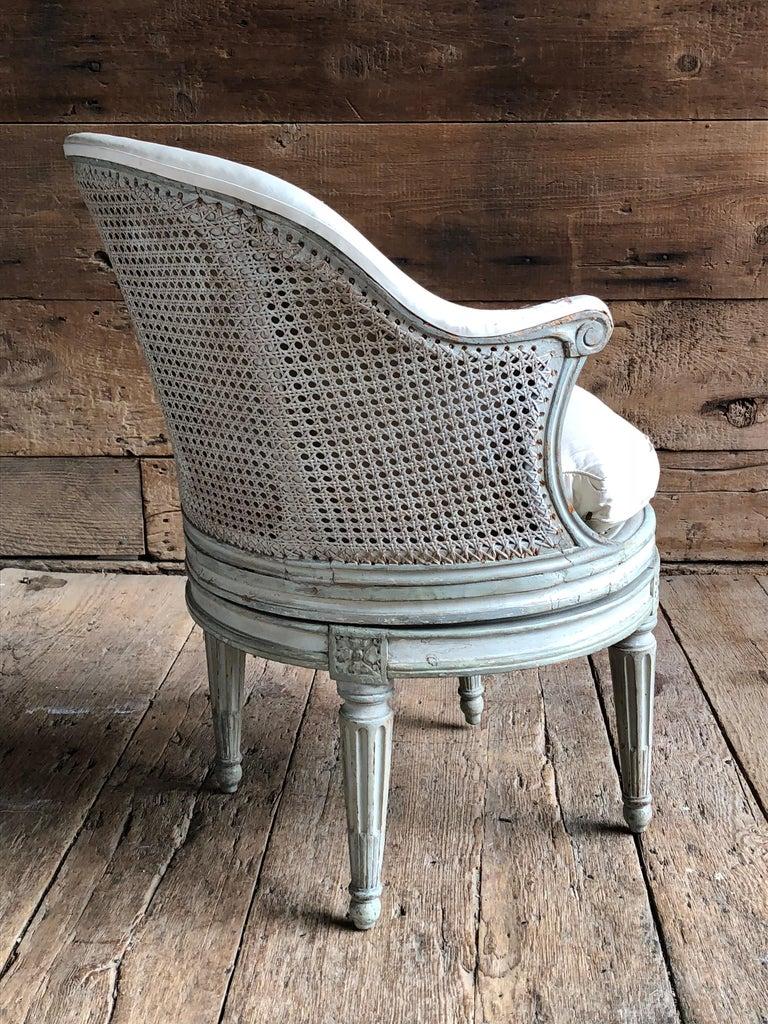 "French Louis XVI Revolving Desk Chair, Signed ""A. Gailliard"" circa 1785 For Sale"