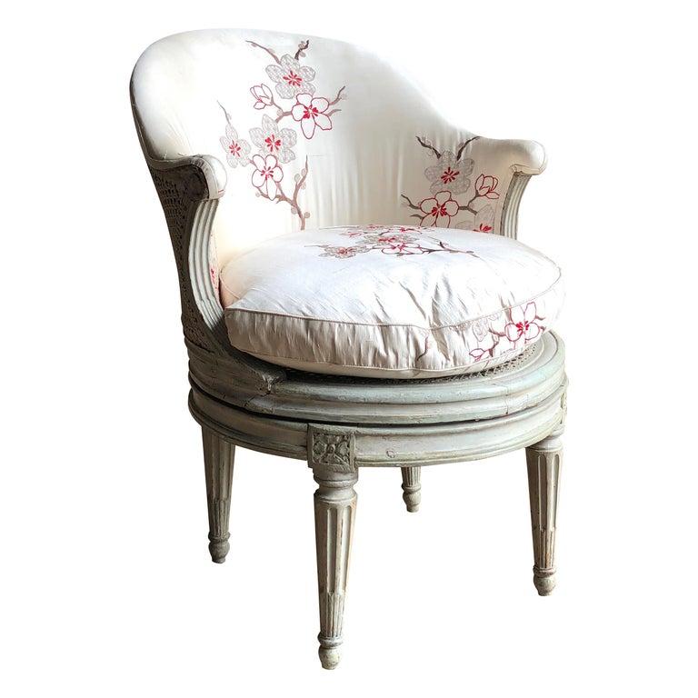 "Louis XVI Revolving Desk Chair, Signed ""A. Gailliard"" circa 1785 For Sale"