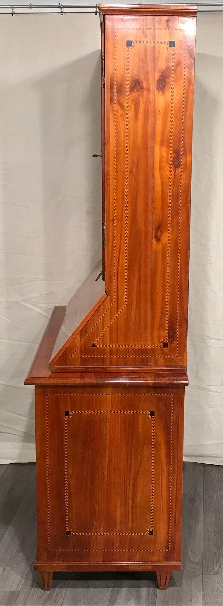 Veneer Louis XVI Secretary Bookcase, South German 1780, Cherry For Sale