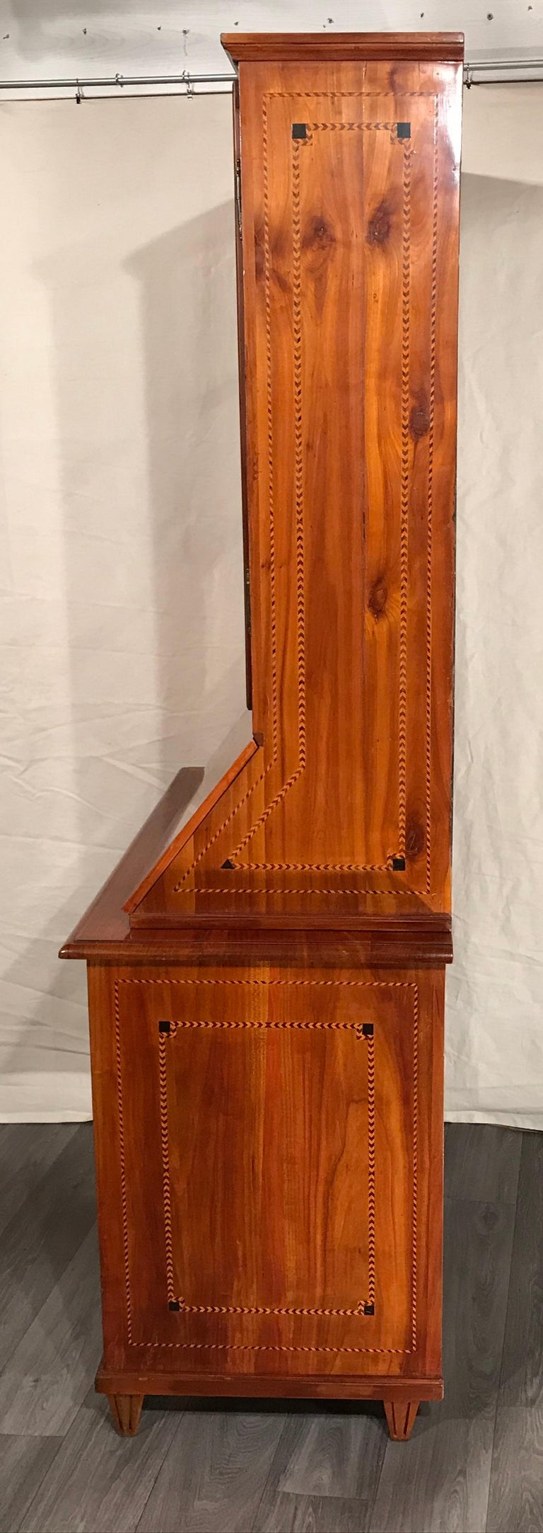 Louis XVI Secretary Bookcase, South German 1780, Cherry In Good Condition For Sale In Belmont, MA
