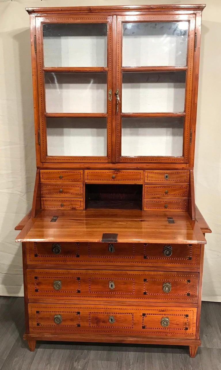Louis XVI Secretary Bookcase, South German 1780, Cherry For Sale 4