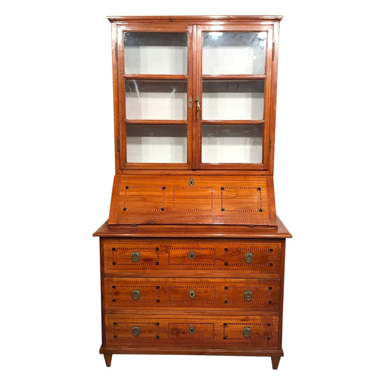 Louis XVI Secretary Bookcase, South German 1780, Cherry For Sale