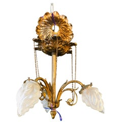 Louis XVI Style 1920s Bronze Hall or Bathroom Light Having Lalique Style Globes