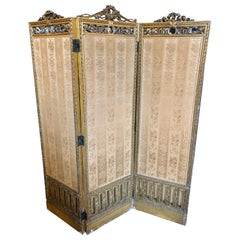Louis XVI Style 3-Panel Folding Screen / Room Divider with French Tapestry