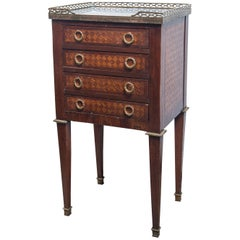 Louis XVI Style 4-Drawer, Marble Topped End Table