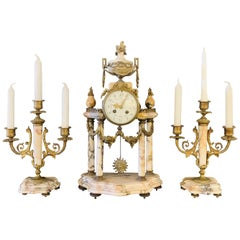 Louis XVI Style Alabaster and Bronze Clock Garniture Set 19th-Early 20th Century