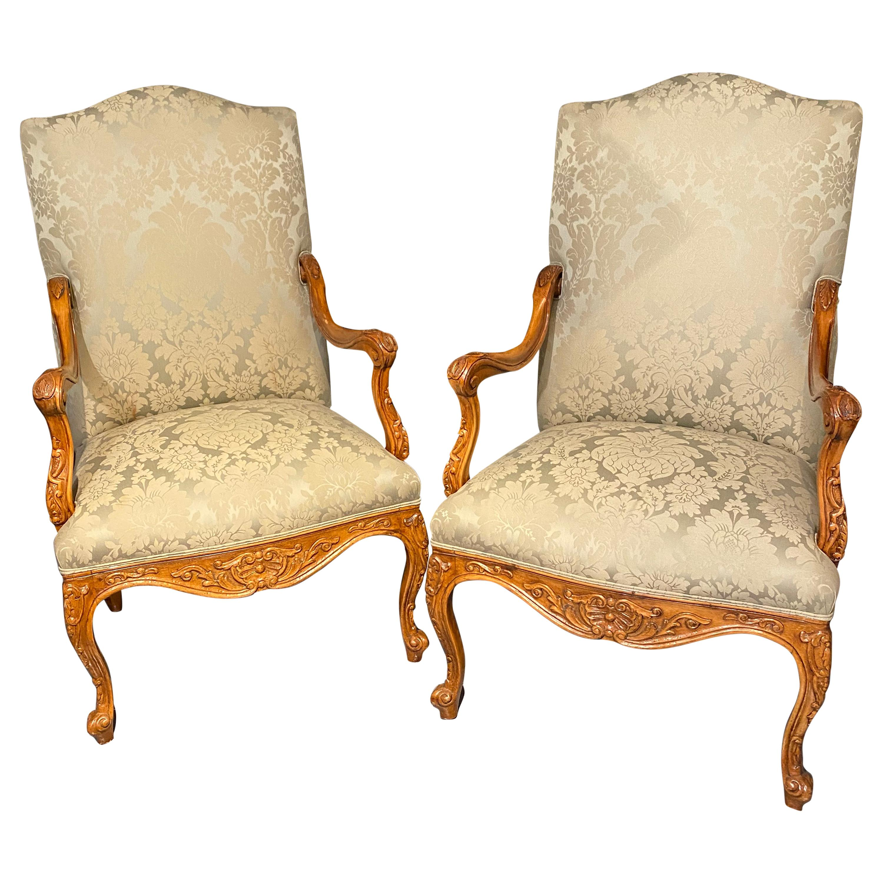 Louis XVI Style Antique Arm, Throne Chairs Finely Upholstered a Pair
