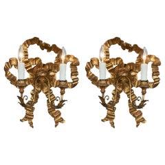 Louis XVI Style Antique Gold Bow Sconces
