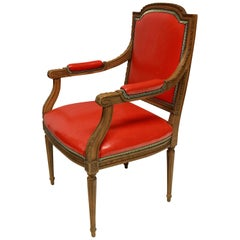 Louis XVI Style Armchair in Tomato Red Leather