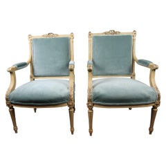Louis XVI Style Armchairs Finely Carved Pair Covered in Seafoam Velvet