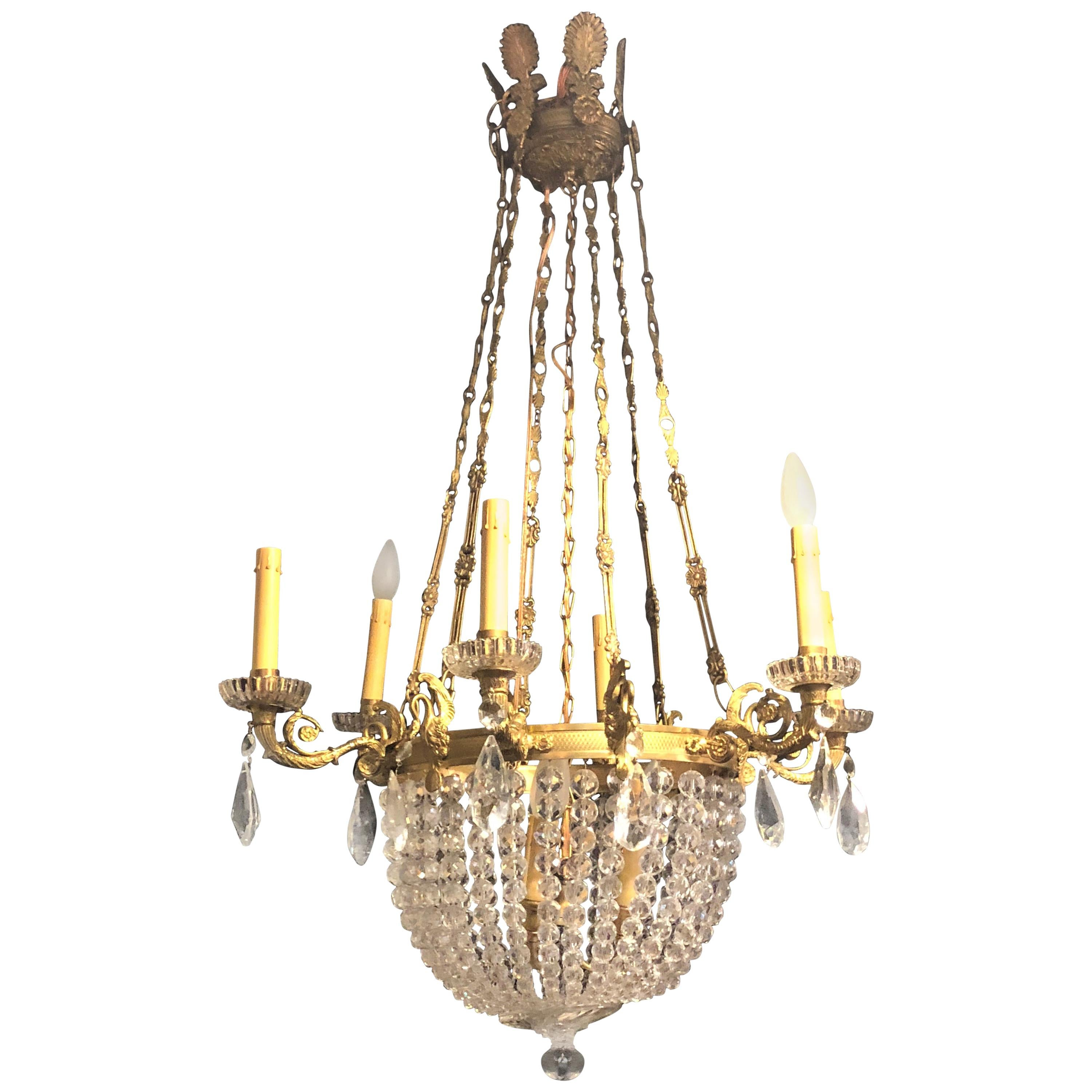 Louis XVI Style Basket Dore Bronze and Crystal Chandelier