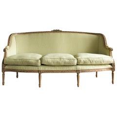Louis XVI Style Beech Framed Canape Sofa