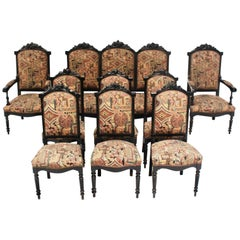 Louis XVI Style Black Lacquered Living Room Set, Settee & 8 Chairs, Spain, 1900s