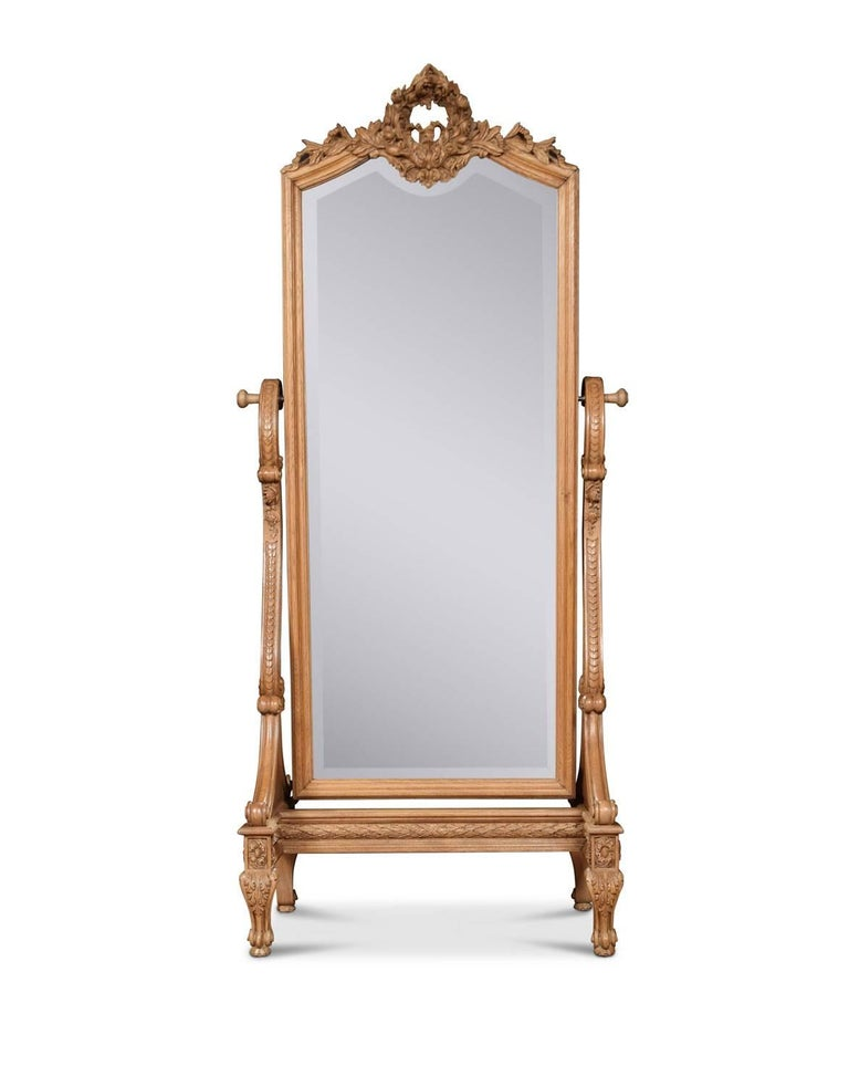 Louis Xvi Style Blonde Oak Cheval Mirror For Sale At 1stdibs