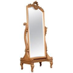 Louis XVI Style Blonde Oak Cheval Mirror