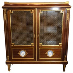 Louis XVI Style Bookcase Bibliotheque with Dore Bronze Mounts and Jasper Plaques