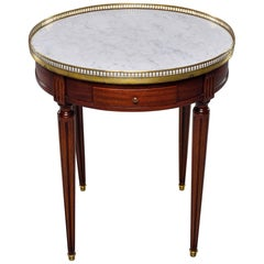 Louis XVI Style Brass Bound Table with White Marble Top