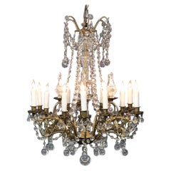 Louis XVI Style Bronze and Crystal Twelve-Arm Chandelier