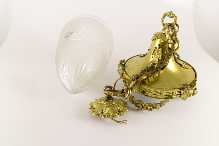 French Louis XVI Style Bronze and Cut-Glass Hall Lamp Lantern Pendant 11
