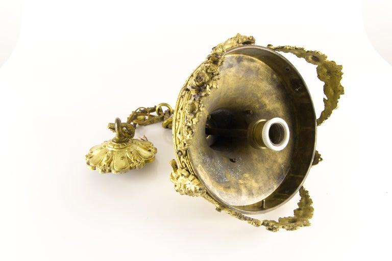 French Louis XVI Style Bronze and Cut-Glass Hall Lamp Lantern Pendant 13