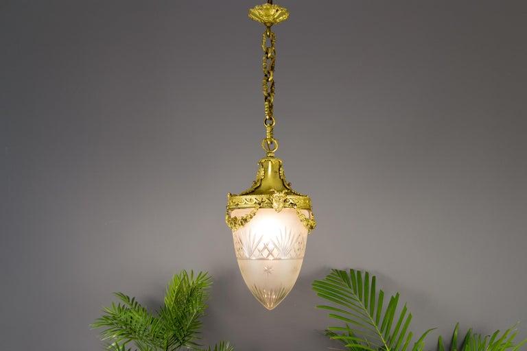 French Louis XVI Style Bronze and Cut-Glass Hall Lamp Lantern Pendant 3