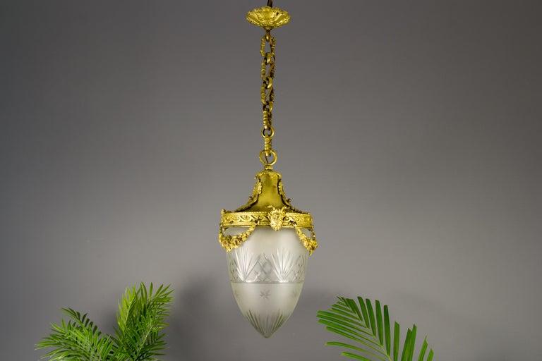French Louis XVI Style Bronze and Cut-Glass Hall Lamp Lantern Pendant 4